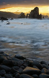 Dusk at Basque Country 2. A dusk at Basque Country rocky shore Stock Photography