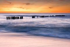 Dusk at beach royalty free stock photo