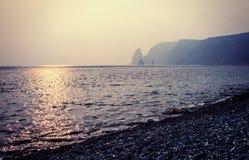 Dusk on the beach jasper, old film effect. Dusk on the beach jasper (Fiolent cape, Crimea, Black Sea), artistic conversion Royalty Free Stock Photo