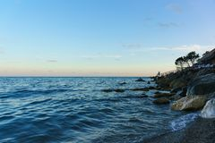 Dusk on the beautiful beach of Zelenyy Mys in Alupka. Crimea stock photos