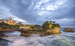 Dusk in Biarritz in France Royalty Free Stock Images