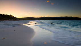 Dusk Binalong Bay. Beach at Dusk Binalong Bay, Bay of Fires Tasmania Australia Stock Images