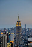 Dusk and blue hour arrive on Manhattan Island Stock Images