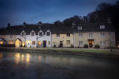 Dusk at Castle Combe in Wiltshire England Stock Images
