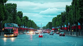 Dusk on Champs Elysees stock video footage