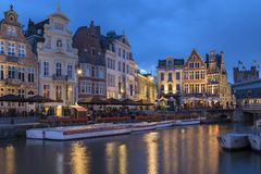 Dusk in the city of Ghent in Belgium Royalty Free Stock Photography