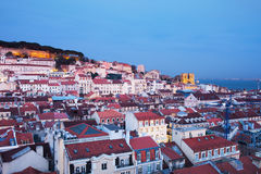Dusk in the City of Lisbon Royalty Free Stock Photography