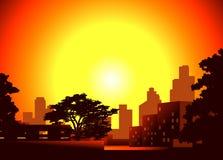 Dusk in the city. Vector illustration of a dusk in the city stock illustration
