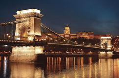 Dusk Cityscape Of The Chain Bridge Across The River Danube With The Buda Castle In The Background In The Hungarian Capital Budape Royalty Free Stock Photos