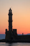 Dusk closeup view of lighthouse Stock Images