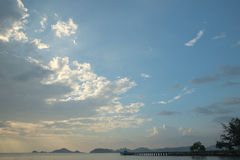 Dusk cloudscape at sea chore. Of eastern part of Thailand royalty free stock image