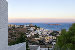Dusk colors over Ermoupolis, Syros island, Cyclades, Greece Stock Images