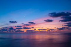 Dusk with crescent moon Royalty Free Stock Photos