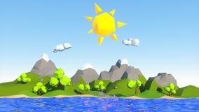 Dusk and dawn on a cartoon island
