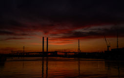 Dusk at docklands. In Melbourne Victoria Australia Stock Photography