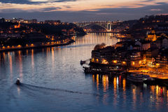 Dusk at Douro River in Porto Stock Images