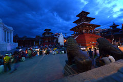 Dusk in the Durbar square. Kathmandu, Nepal Royalty Free Stock Images