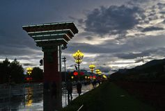Dusk. Street after rain in Tibet Royalty Free Stock Photos