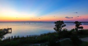 Sunset at Bayfront Park in Daphne, Alabama. Dusk at Eastern shore park of Mobile Bay Royalty Free Stock Image
