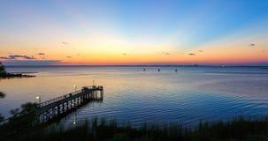 Sunset at Bayfront Park in Daphne, Alabama. Dusk at Eastern shore park of Mobile Bay Stock Photography