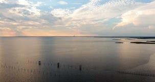 Sunset at Bayfront Park in Daphne, Alabama. Dusk at Eastern shore park of Mobile Bay Royalty Free Stock Images