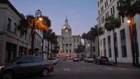 Dusk establishing shot of Savannah city hall stock video