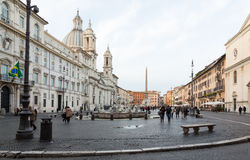 Dusk in famous Piazza Navona Stock Images