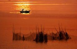 Dusk fishing Royalty Free Stock Images