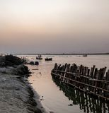Dusk at the Ganges. Evening on the banks of holy River the Ganges at stock images