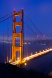 Dusk at Golden Gate. Golden Gate bridge from Marin headlands Royalty Free Stock Photos