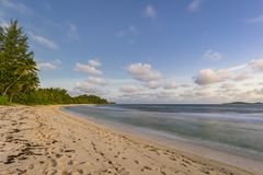 Dusk on Grand Anse beach, Seychelles Stock Photography
