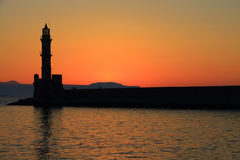 Dusk at harbor with lighthouse Chania Crete Royalty Free Stock Image