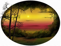 Dusk Horizon - Digital Painting. Oval-shaped painting of a warm sunset surrounded by foliage Royalty Free Stock Images