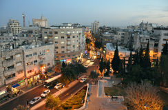 Dusk at Jerusalem Downtown Royalty Free Stock Photo