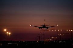 Dusk Jet Landing 1 Royalty Free Stock Images