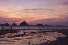 Dusk at Krabi. Dusk sky reflects to the beach at Tub Kaek beach, Krabi province, Thailand Royalty Free Stock Image