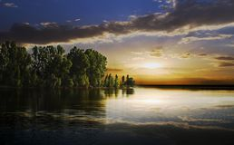 Dusk on a lake Stock Image