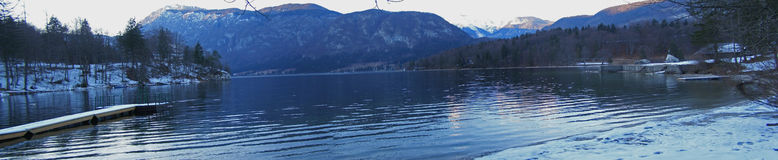 Dusk at the lake panorama stock images