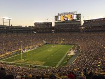 Dusk at Lambeau Field Greenbay Packers. Dusk in November at Lambeau Field with the colts and Packers royalty free stock images