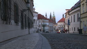Dusk in lane to Prague castle stock footage