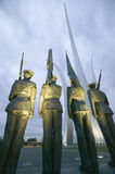Dusk light behind Bronze Honor Guard and three soaring spires of the Air Force Memorial, One Air Force Memorial Drive, Arlington,  Stock Photo