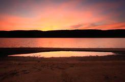 Dusk light at Lake Burralow Penrith Royalty Free Stock Photography