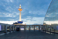 Dusk Lighted Kyoto Tower Blue Hour Evening Nobody Stock Photos