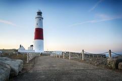 Portland Bill Lighthouse. Dusk at the lighthouse on Portland Bill near Weymouth on Dorset's Jurassic coast Royalty Free Stock Image