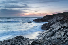 Dusk at Little Fistral Beach Royalty Free Stock Photos