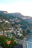 Dusk from a balcony in Amalfi Italy stock images
