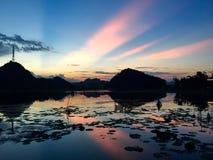 Dusk. Lotus lake at sunset Royalty Free Stock Photos