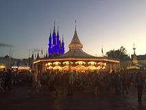 Dusk at the Magic Kingdom. The sun sets on another beautiful day at the Magic Kingdom, Orlando, Florida Stock Photo