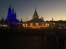 Dusk at the Magic Kingdom. The sun sets on another beautiful day at the Magic Kingdom, Orlando, Florida Royalty Free Stock Image