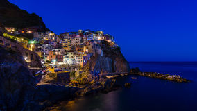 Dusk in Manarola, Cinque Terre royalty free stock photography